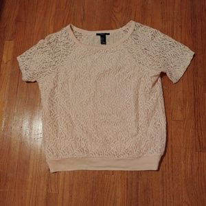 Light Pink Forever21 Lace T Shirt Size Small